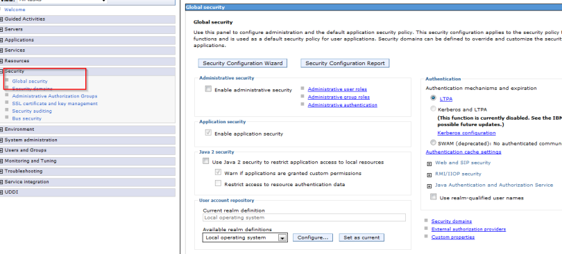 Global security settings